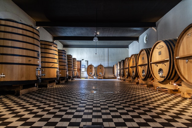 Wooden barrels, aging, fermentation process, store in modern cellar, chess floor