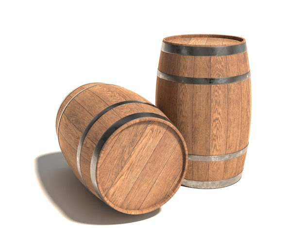 Wooden barrels for aging wine on a white.
