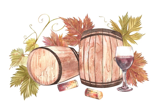 Wooden barrels and glasses of wine and leaves of grapes