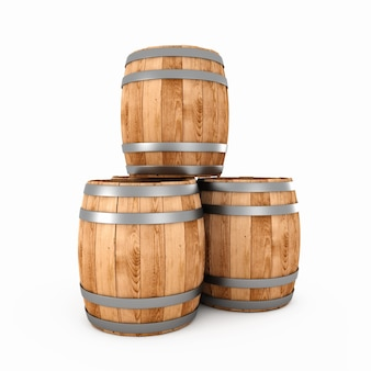 Wooden barrels on a white bacground 3d render image