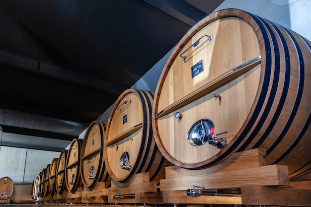 Wooden barrels in a wine producing factory