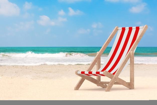 Wooden beach chair on the ocean or sea sand beach extreme closeup. 3d rendering