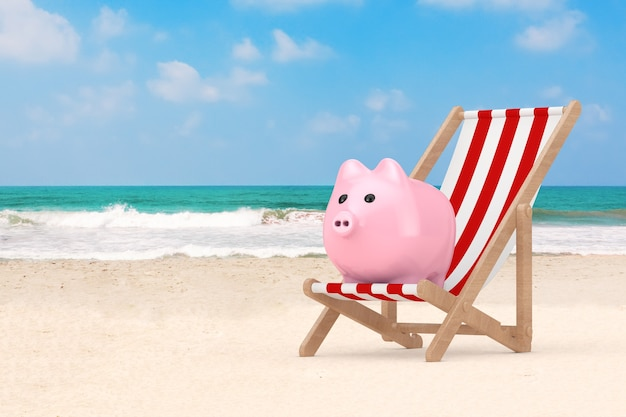 Wooden beach chair with piggy bank on the ocean or sea sand beach extreme closeup. 3d rendering