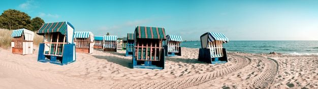 Wooden beach chairs on island rugen, northern germany