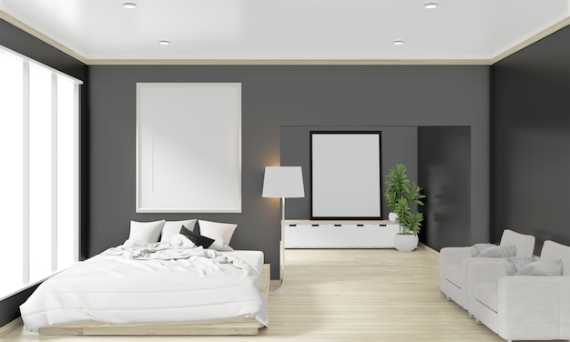 Wooden bed, frame and decoration japanese style in zen bedroom minimal design. 3d rendering.