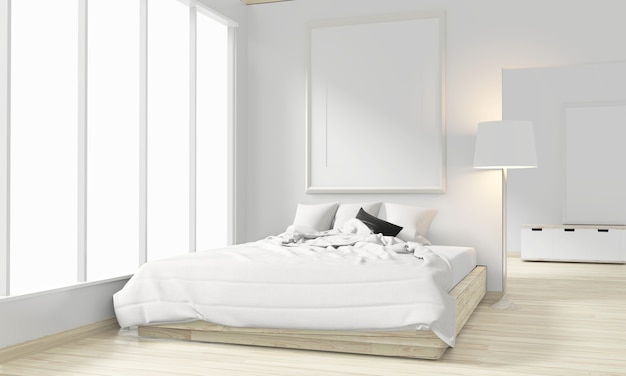 Wooden bed, frame and decoration japanese style in zen bedroom minimal design. 3d rendering.
