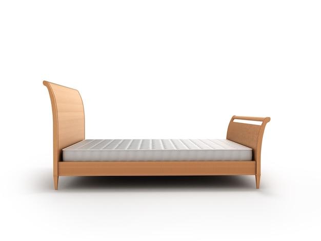 Деревянная кровать с матрасом на белом фоне