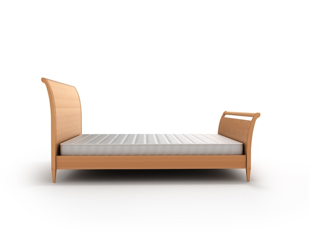 Wooden bed with a mattress isolated on white background