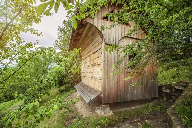 Wooden bee house surrounded by trees in the countryside
