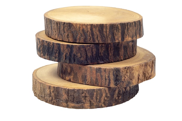 Wooden beer or coffee coasters isolated