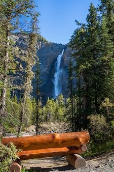 晴れた日のタカカウ滝の滝の上のヨーホー川沿いの木製ベンチ。ヨーホー国立公園、カナディアンロッキー、ブリティッシュコロンビア、カナダ。