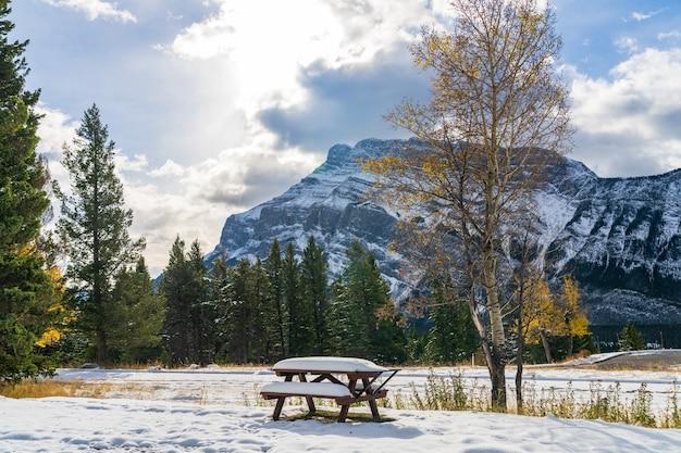 눈 덮인 가을 화창한 날의 나무 벤치 배경 밴프 국립 공원의 런들 산