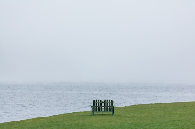 Деревянная скамейка на берегу красивого зеленого озера