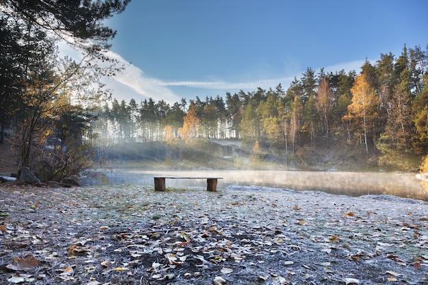 湖岸の木製ベンチ