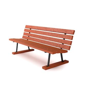 Деревянная скамейка на белом фоне