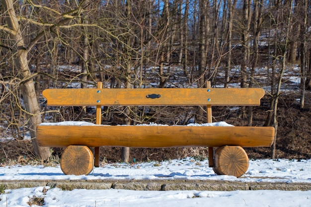 Wooden bench in a park covered with snow on a sunny winter day