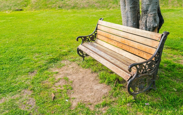 Wooden bench in the park .