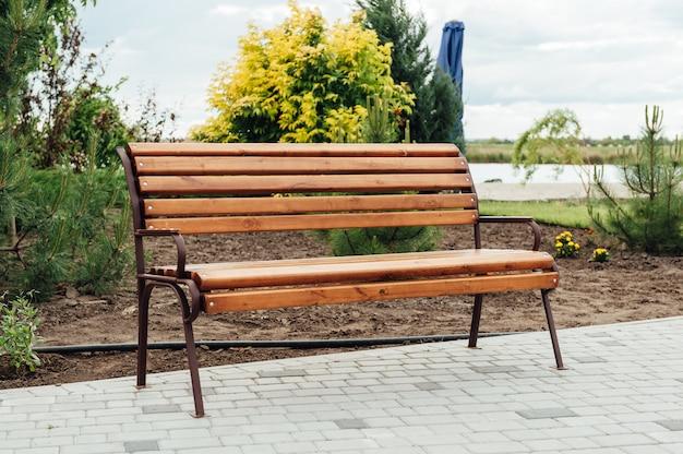 Wooden bench in a wildflower garden.