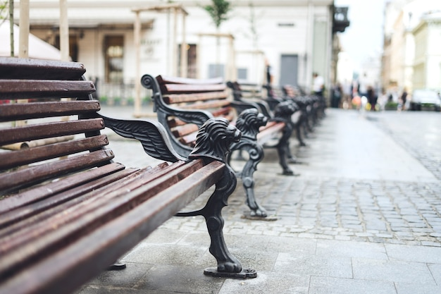 Wooden benches in the city center