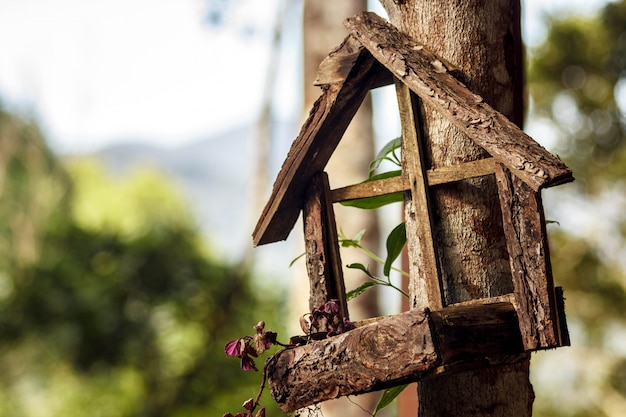 Wooden bird house in a tree