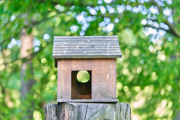 Wooden birdhouse in the form of a house with blurred trees background