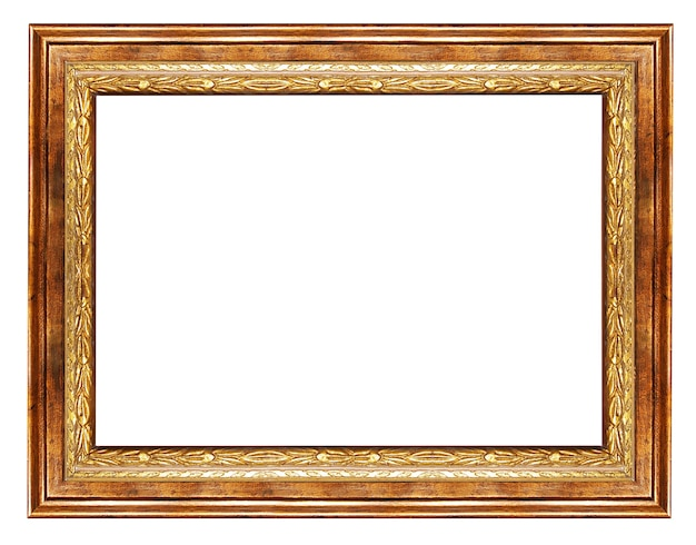 Wooden blank frame isolated on white background