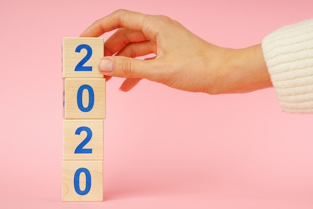 Wooden block cube with number new year 2020