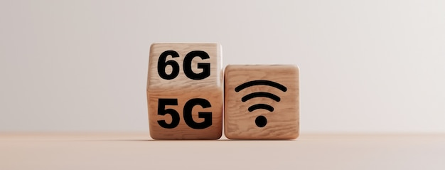 Wooden block flipping from 5g to 6g ,technology transformation concept by 3d render.