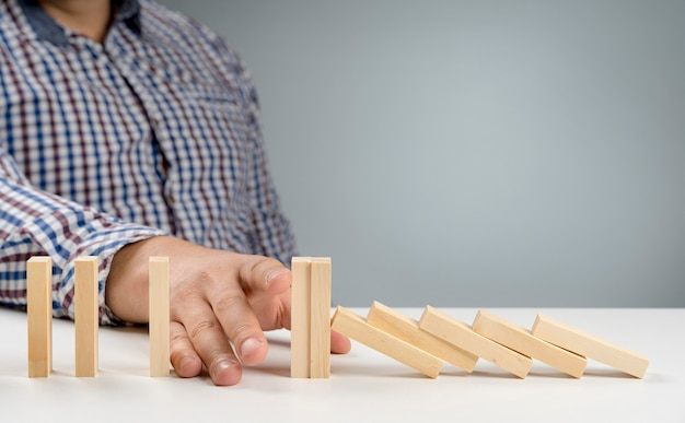 Wooden blocks on desk