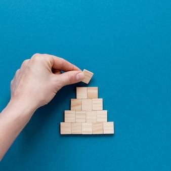 Wooden blocks pyramid
