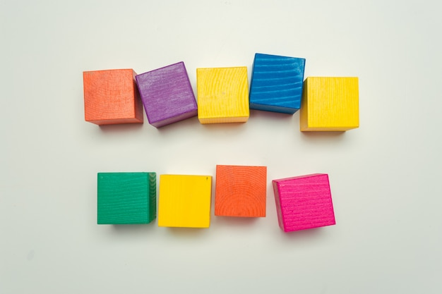 Wooden blocks on the table