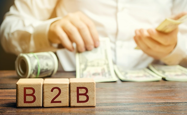 Wooden blocks with the word b2b and businessman.