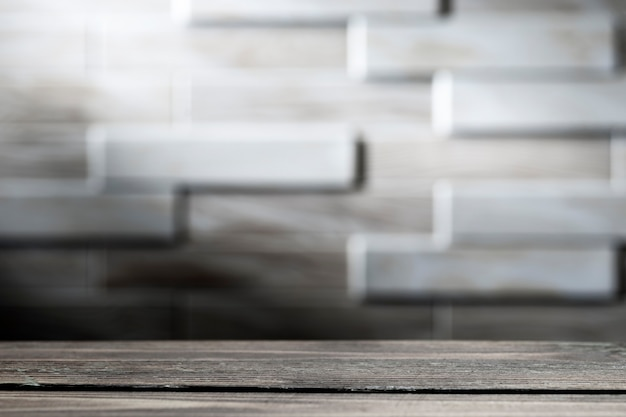 Wooden board empty table in front of blurred surface