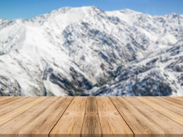 배경 흐리게 앞 나무 보드 빈 테이블