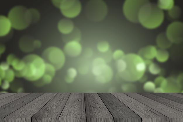 ボケライトとぼやけたクリスマスの背景の上に木の板の空のテーブルトップ