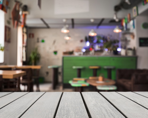 Wooden board looking out to bar