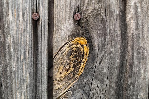 さびた釘と木の板