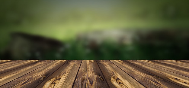 Wooden board with blurred background