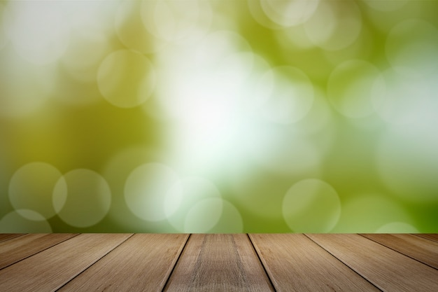 녹색 배경 흐리게 나무 보드입니다.