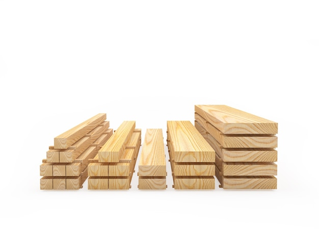 Деревянные доски сложены стопками