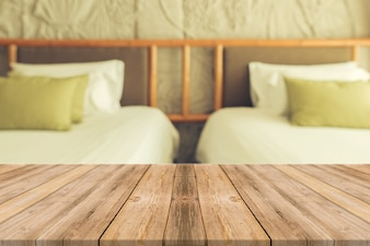 Wooden boards with two bed background