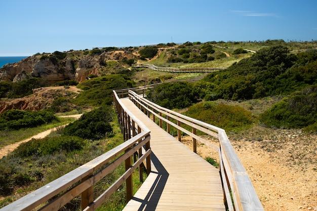 Wooden boardwalk in lagos, portugal