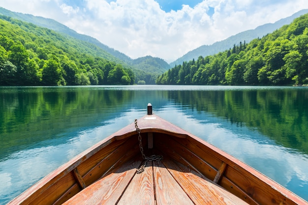 Wooden boat on the lake