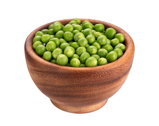 白で隔離される緑のエンドウ豆の木のボウル