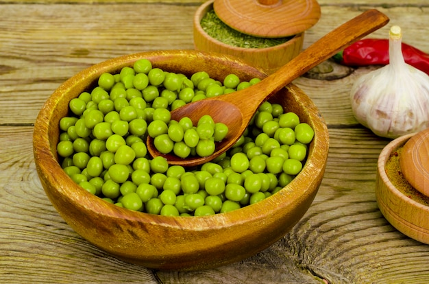 Wooden bowl with canned green peas on table.