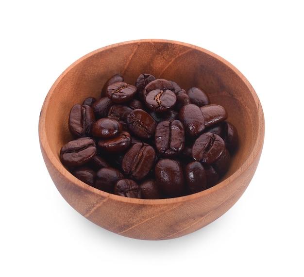 白のコーヒー豆と木製のボウル。