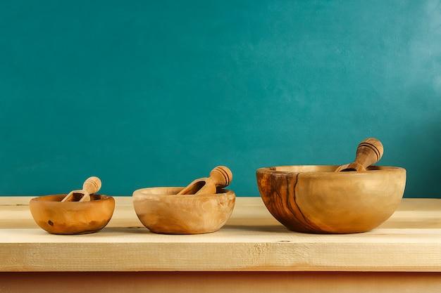 Wooden bowls line