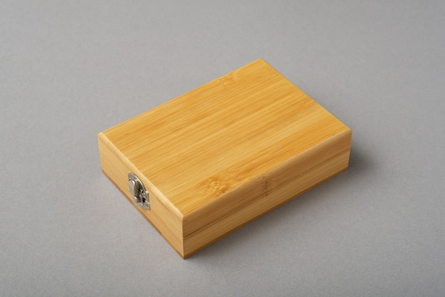 Wooden box on gray background