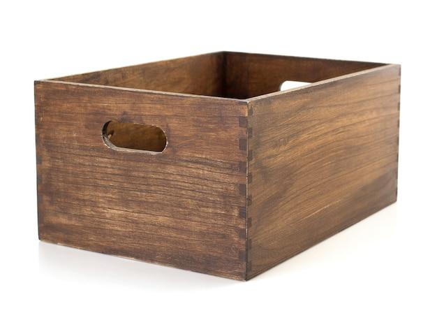 흰색 배경에 고립 된 나무 상자