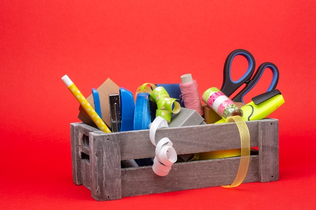 Wooden box with accessories for packing gifts